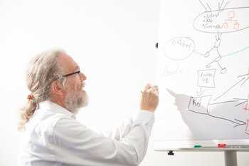 Photo: Peter Gietz draws a draft for an infrastructure of identity management system
