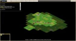 A screenshot from FreeCiv showing the world map in an individual campaign.