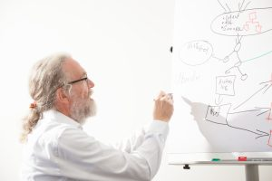 Photo: Peter Gietz writing on a Whiteboard