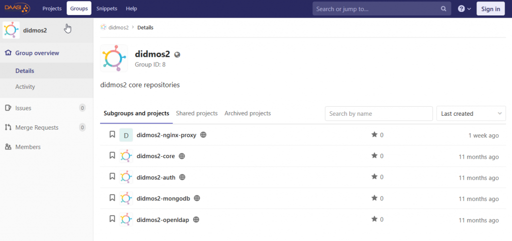 Screenshot: didmos GitLab