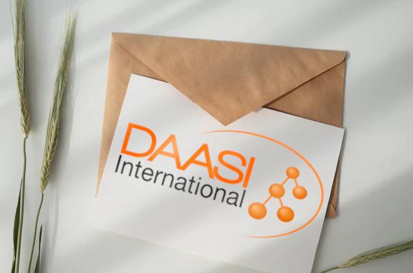Bild: Briefumschlag, Brief mit DAASI International Logo