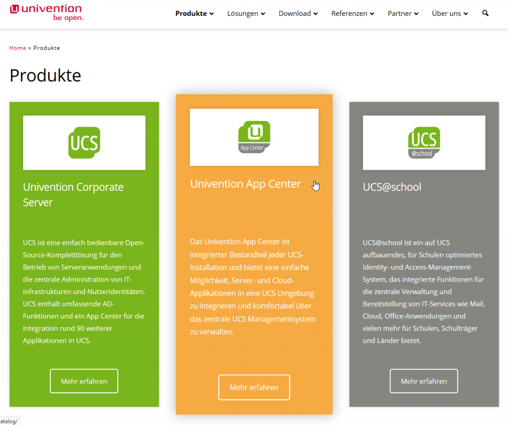 Screenshot: Univention App Center
