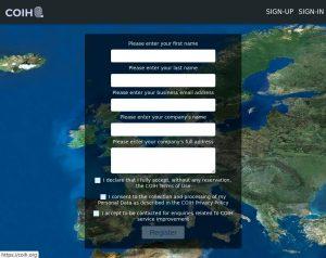 Screenshot: Anmeldungsseite LUI auf COIH.org