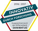 """Seal """"Innovativ durch Forschung"""", (innovative with research), 2016/2017"""